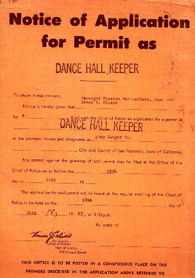 Official Dancehall (Keeper) application notice, 1966
